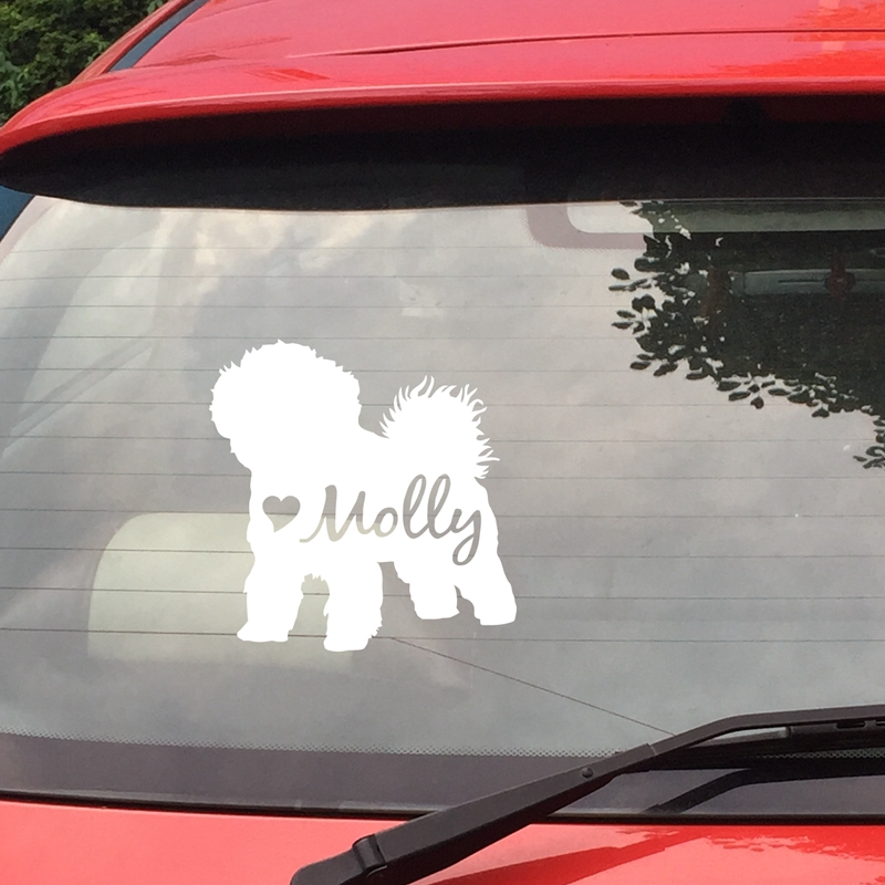Custom Dog Vinyl Sticker Lovely Bichon Frise Silhouette Decals Art Decor , Personalized Dog Name Decals For Laptop Decoration
