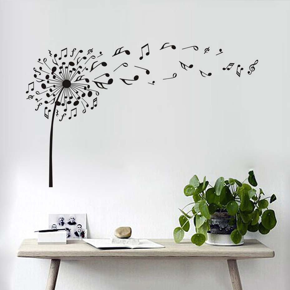 Online shop creative dandelion music notes wall decals decor high online shop creative dandelion music notes wall decals decor high quality vinyl tv background mural pvc wall stickers for bedroom removable aliexpress amipublicfo Gallery