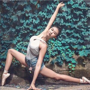 Image 5 - ballet women leotard gymnastic leotards white halter dance leotard adult yoga sports bodysuit ladies dancewear swimsuit women