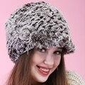 Caliente venta mujeres Beanie invierno hechos a mano rayas de piel de conejo Rex sombreros del sombrero de piel caliente suave lindo rose hermosa grueso de punto gorros