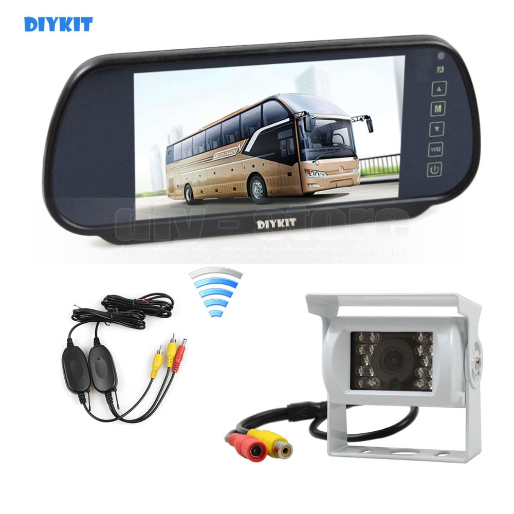 DIYKIT Wireless 12VDC 7inch HD Mirror Monitor Car Monitor Waterproof CCD Rear View Car Camera White for Truck Caravan Bus Van 2 din car radio mp5 player universal 7 inch hd bt usb tf fm aux input multimedia radio entertainment with rear view camera