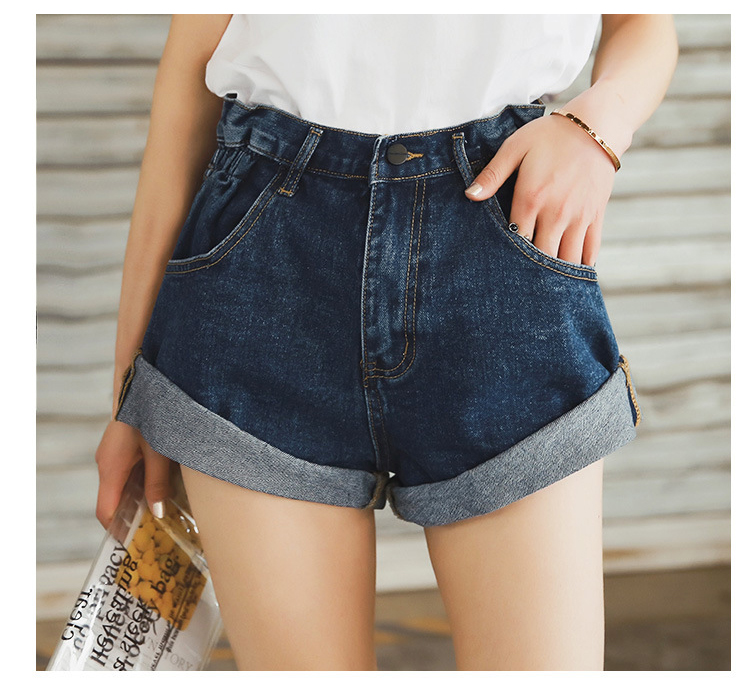 HTB11.sMPmzqK1RjSZFpq6ykSXXao - Streamgirl Denim Shorts Women's White Women Short Jeans Khaki Wide Leg Elastic Waist Vintage High Waist Shorts Women Summer