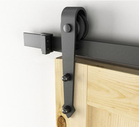 8FT American Arrow Style Black Rustic Sliding Barn Door Hardware Sliding Track