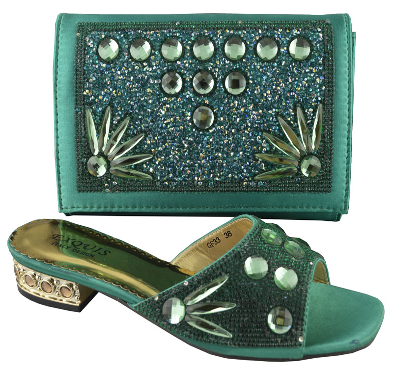 ФОТО bottle green,new arrival African shoes and bags set for party,good quality shoes and matching bags with rhinestones! !HP1-49