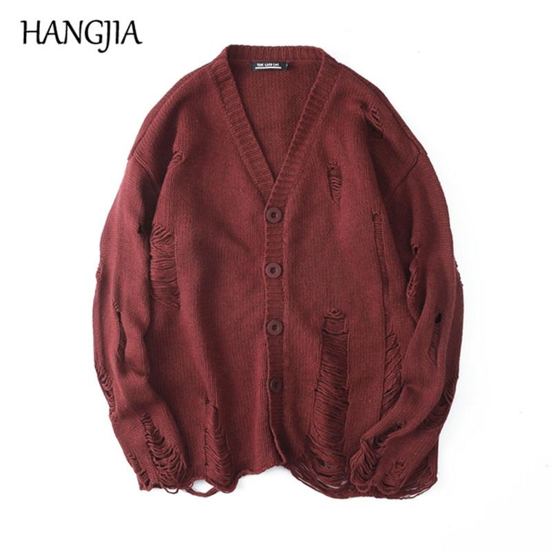 Black Red Ripped Sweaters Men's Streetwear Autumn Winter Hip Hop Hole Sweater Fashion Oversize Men Women All-match Knit Cardigan