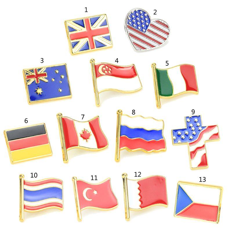 Emaille Amerikanischen Großbritannien Russland Flagge Revers Pin Brosche Patriotischen Stolz Schmuck