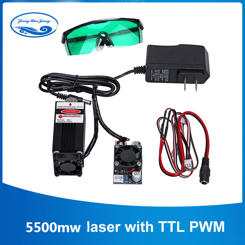 5500mw / 7w / 10w High Power 450NM Focusing Blue Laser Module Laser Engraving And Cutting TTL Module 5500mw Laser Tube+goggles