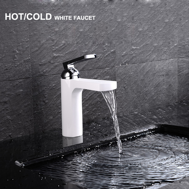 High Quality Fan-Shaped Hot Cold White Bathroom Faucet Tap Mixer Basin White Faucet Waterfall hot sale c shaped waterfall acrylic occasional side table