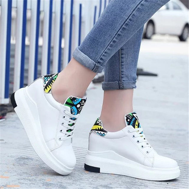 22016 Women Increased height flat Comfortable casual Walking shoes white Outdoor apartment Super star zapatos mujer size 35-40