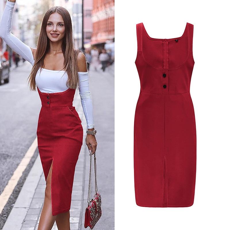 Backless Bodycon Midi Dress Women Summer Vestidos 2019 New Pocket Button Cotton Dress Sexy Split Ladies Dresses