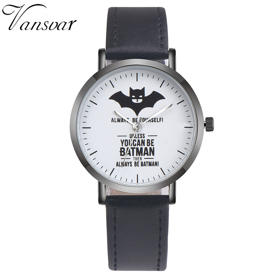 Fashion Leather Batman Watch Casual Women Wrist Quartz Watches Relogio Feminino Drop Shipping 1