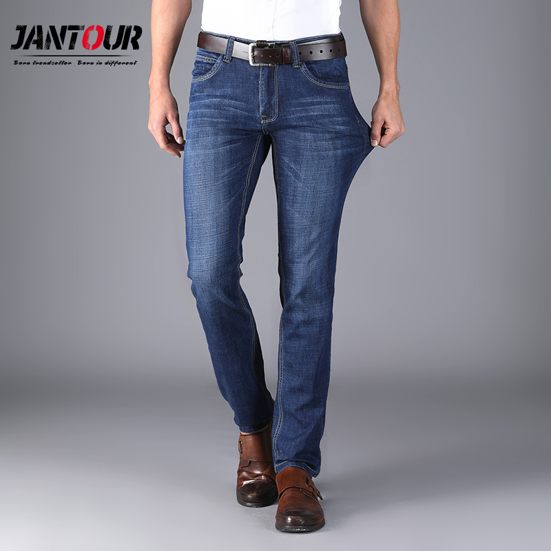 cotton jeans man blue Casual Jeans Male Slim Straight Elasticity Feet Trousers Home Thin cozy Long pants plus size free shipping