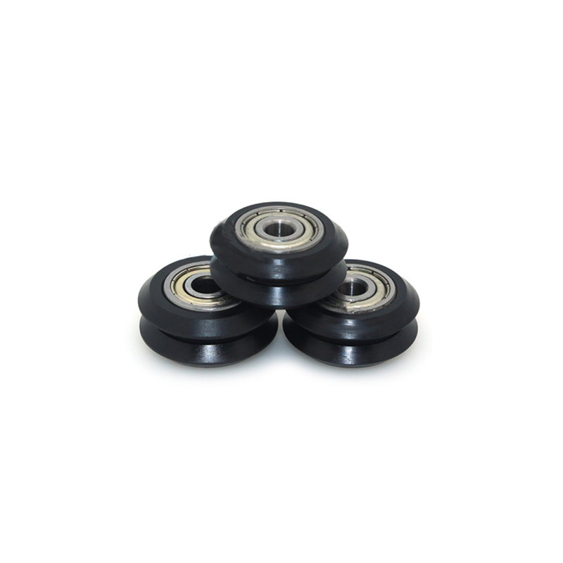 10pcs openbuilds stainless steel double V wheel slot aluminum extrusion line 3D printer accessories die steel feeding extrusion wheel for 3d printer black