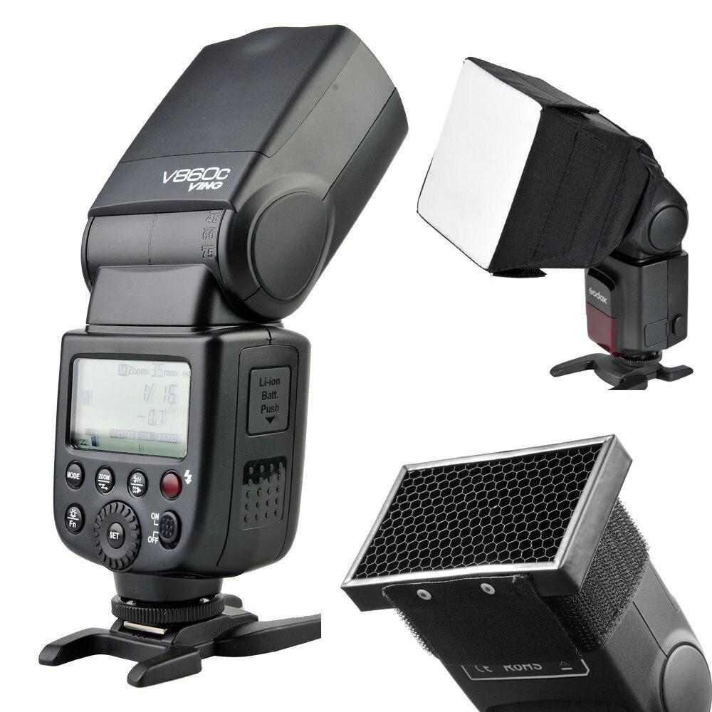 Новый Литий-Ионный Аккумулятор V860C Godox Вспышка Speedlite С Софтбокс И Растровая решетка Студия Flash Kit Для Canon Вспышка