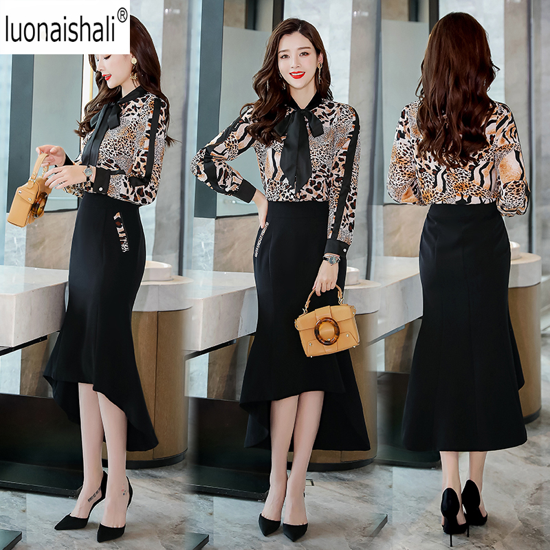 Detail Feedback Questions about office business wear to work women 2 pieces  set sexy Bownot Leopard Shirt blouse + Swallowtail skirts suit OL style  suit set ... 47baea82b
