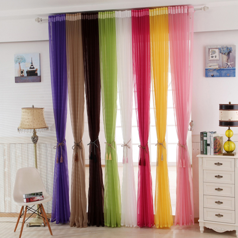 Grommet Sheer Tulle Curtains Kitchen Solid Color Polyester
