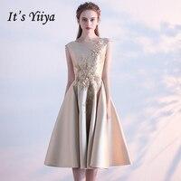 It's Yiiya 2018 Popular Formal Dress O Neck Sleevless Elegant Evening Dresses Appliques Embroidery Vintage Fashion LX746