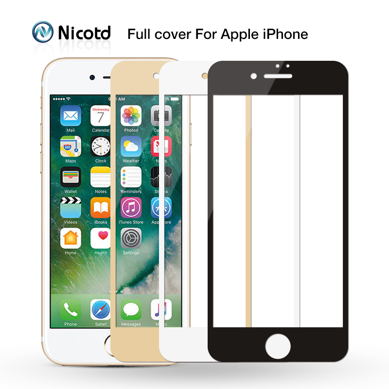 pretty nice 23690 8d058 9H 2.5D Front Full Cover Tempered Glass For iPhone 6 6s plus Screen  Protector Film For iphone 8 7 plus film case black white -in Phone Screen  ...