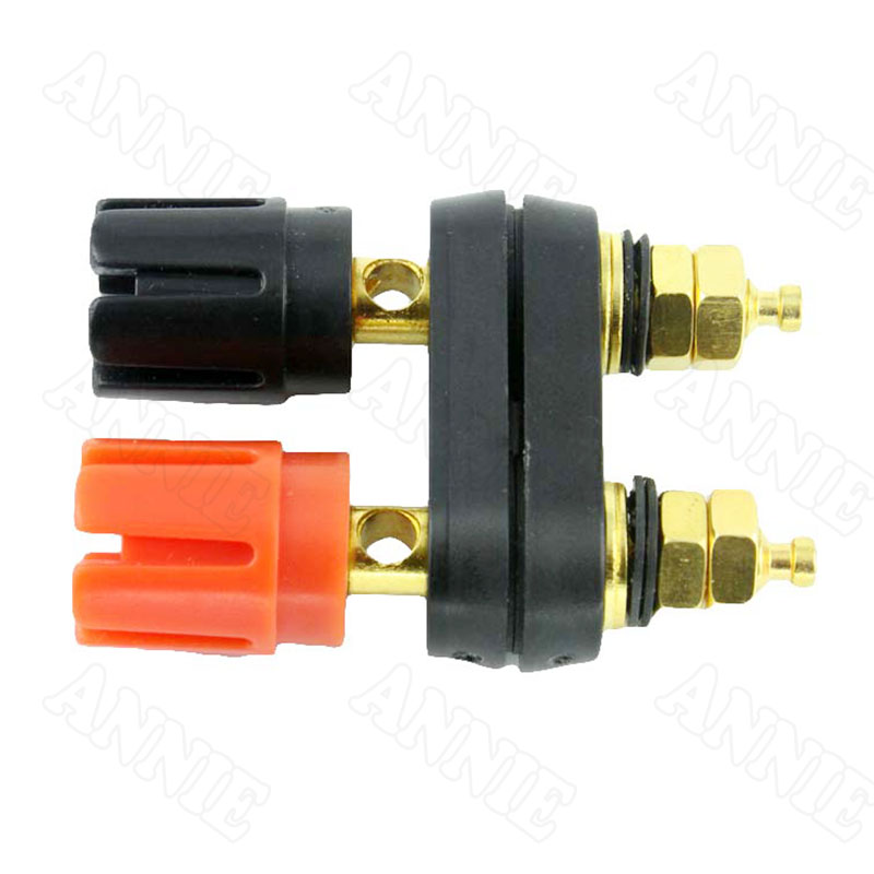 50pcs/lot Speaker Amplifier Red Black Double Coupling Wire Terminal Gold Plated Banana Plug Connector 10pcs lot banana terminal binding post gold plated audio cable connector amplifier terminal banana speaker plug jack