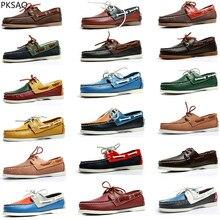 봄 여름 남성 보트 신발 캐주얼 플랫 레이스 라운드 발가락 신발 완료 손수 만든 가죽 신발 B