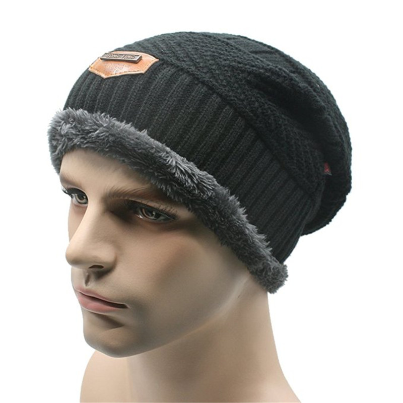 Men Soft Lined Thick Wool Knit Skull Cap Warm Winter Slouchy Beanies baggy Hat with the leather lable cute cartoon bear ms qiu dong the day man with thick warm knitting wool hat sets pointed cap