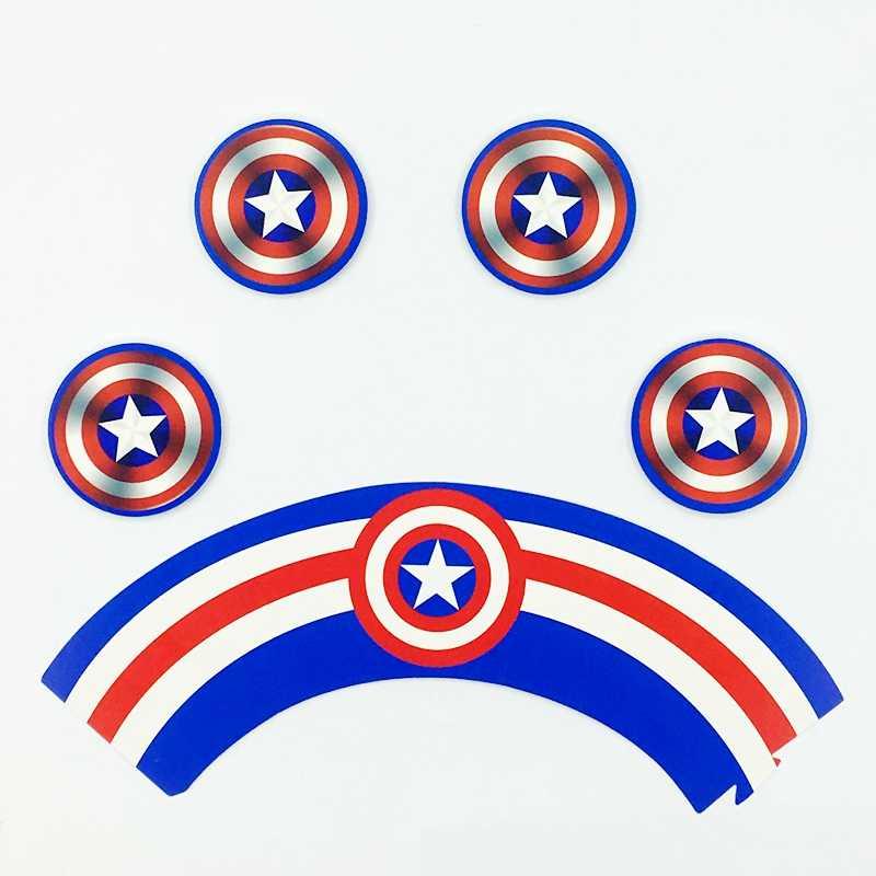 24 sztuk kapitan ameryka ochrona tarcza Cupcake owijarki ciasto Topper wybierz Baby shower kids Birthday Party materiały dekoracyjne