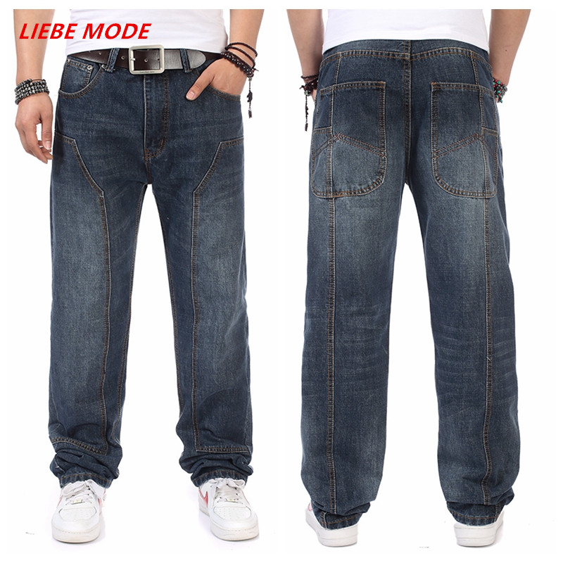 Autumn Spring Large Size Mens Baggy Hip Hop Jeans For Men Loose Fit Denim Jeans Men Skateboard ...