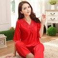 Женщин шелковая пижама устанавливает атласная три четверти рубашки и брюки шелковые пижамы пижамы из двух частей шелковая пижама спортивный костюм цвет 4