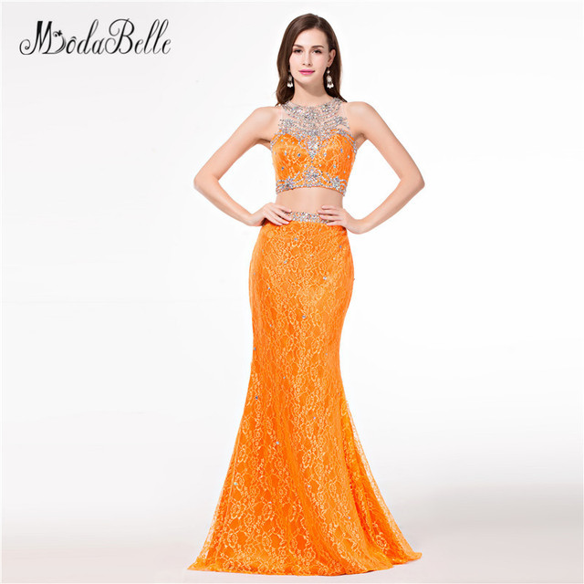 0ef052421e6 modabelle Sparkly Beaded Orange Prom Dresses Mermaid Dress Party Two Piece  Sexy Vestidos De Graduacion 2018 Lace Evening Gowns