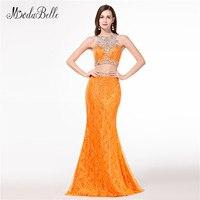 modabelle Sparkly Beaded Orange Prom Dresses Mermaid Dress Party Two Piece Sexy Vestidos De Graduacion 2018 Lace Evening Gowns