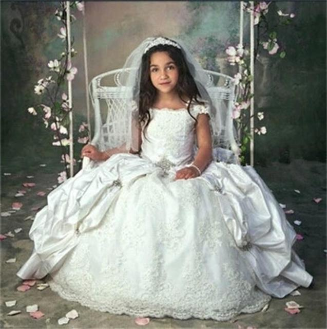 Amazing Cap Sleeves First Communion Dress for Girls Cowgirls Dance