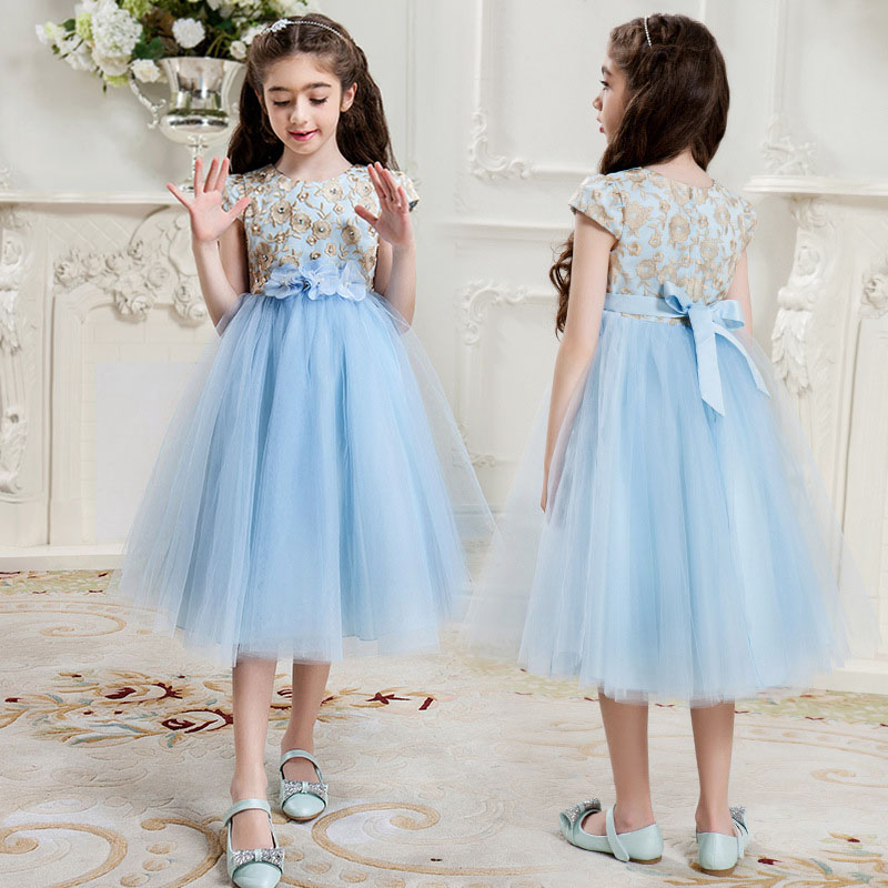 Brand Girl dresses 2017 summer for 5 6 7 8 9 10 11 12 13 14 15 16 years old teenager fashion flower girl weddings party dress