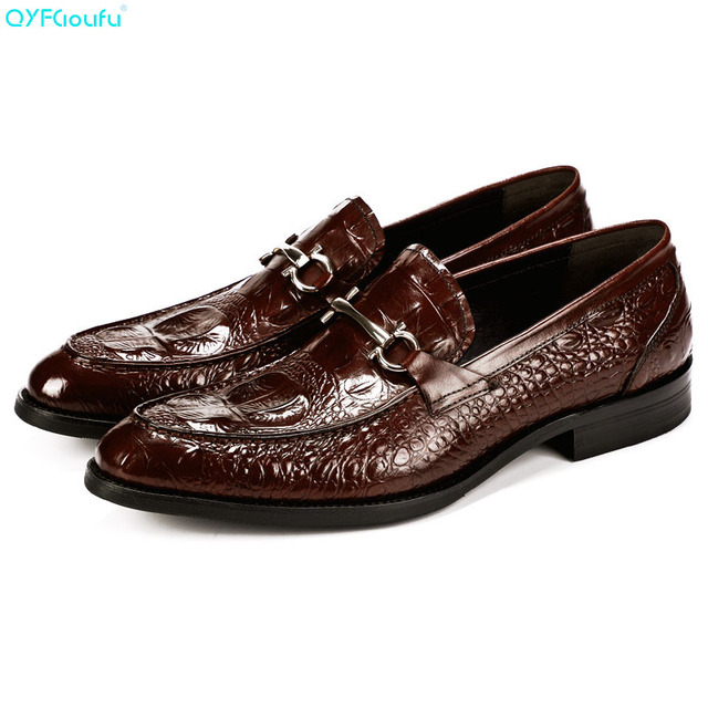 QYFCIOUFU  Italian Casual Suit Men Shoes Oxford Genuine Leather Shoes High Quality Cow Leather Crocodile Pattern Work Shoes