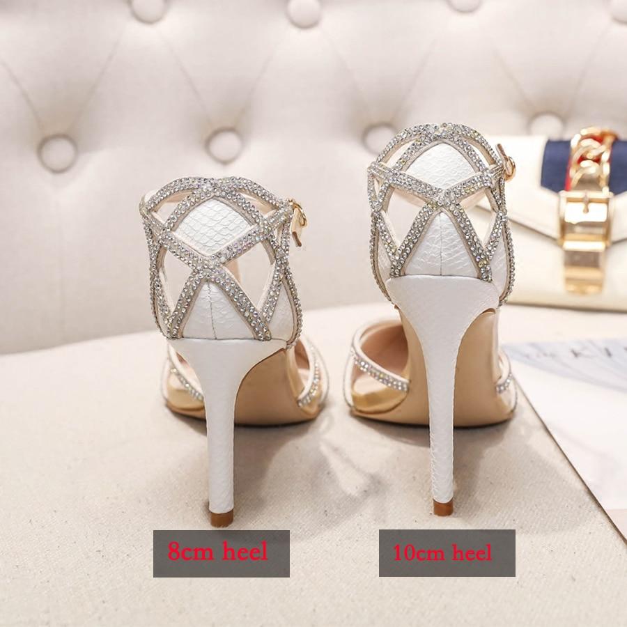 Lady Sexy 8cm Chaussures Talon Date Heel Véritable En De White Pointu T Pompe white Aiguille Serpentine Blanc 10cm Cuir Stylesowner Heel Cristal Mariage Parti Bout Sangle 5EqxnE1O