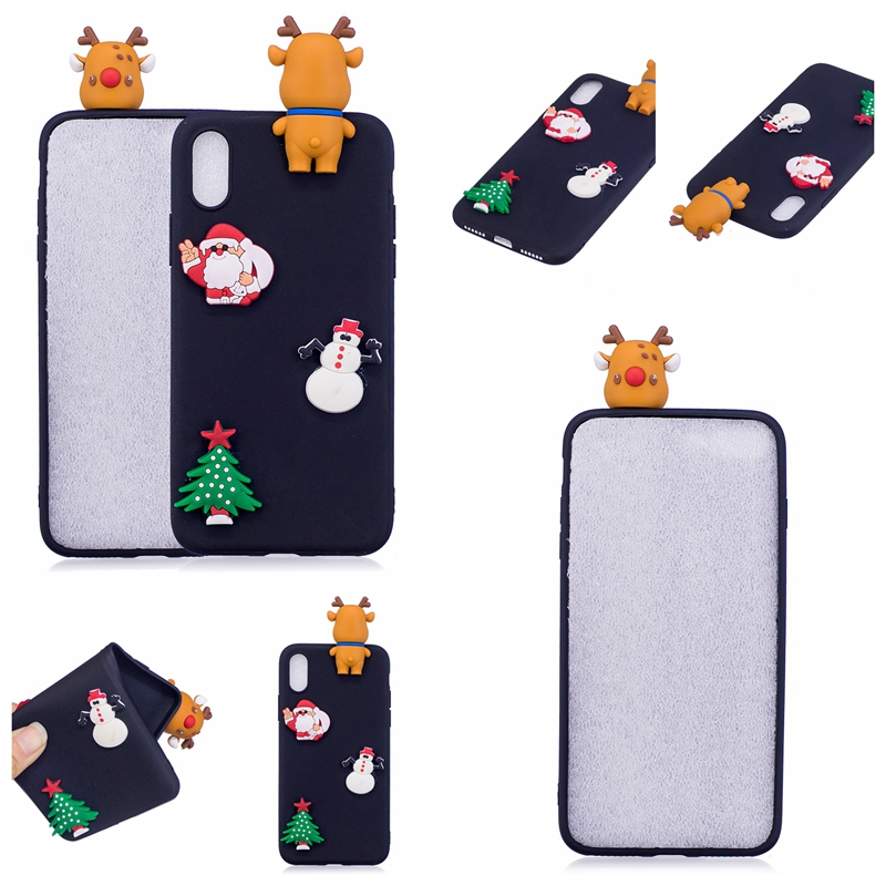 S7 S6 edge S8 S9 Plus Case Cover Silicone 3D Cartoon Christmas Cute Soft Gel Phone Cases For iphone X XR XS Max 8 Plus 6 6S 7 5S in Fitted Cases from Cellphones Telecommunications