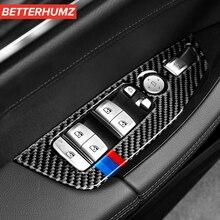 Auto Zubehör Innen Carbon Fiber Fenster Control Switch Panel Auto Aufkleber und abziehbilder Styling Für BMW G01 G02 X3 X4 5 serie