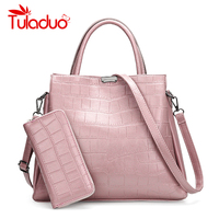 Women Shoulder Bag And Clutch Purses High Quality Leather Ladies Crocodile Pattern Handbag Luxury Brand Designer