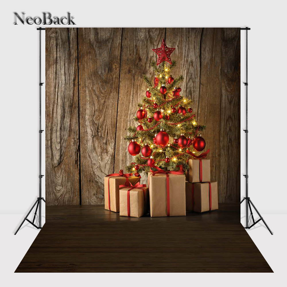 NeoBack New 5X7ft  baby Christmas tree gift box backdrop  Printed vinyl photography backgrounds photo studio A1074 christmas background pictures vinyl tree wreath gift window child photocall fairy tale wonderland camera photo studio backdrop