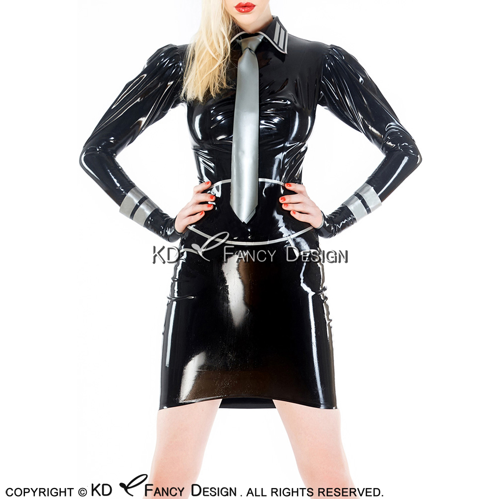 Black With Silver Sexy Military Latex Unifrom With Rubber Blouse Skirt Tie Gloves Playsuit Bodycon YF-0152