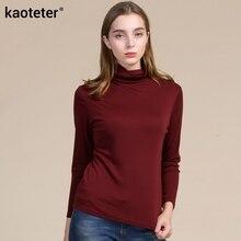 70% Wool 30% Silk  Women's Autumn Winter Full Sleeve Warm T-Shirts Women Wild Tee Shirts Slim Female Pullover T Shirt Woman Tops