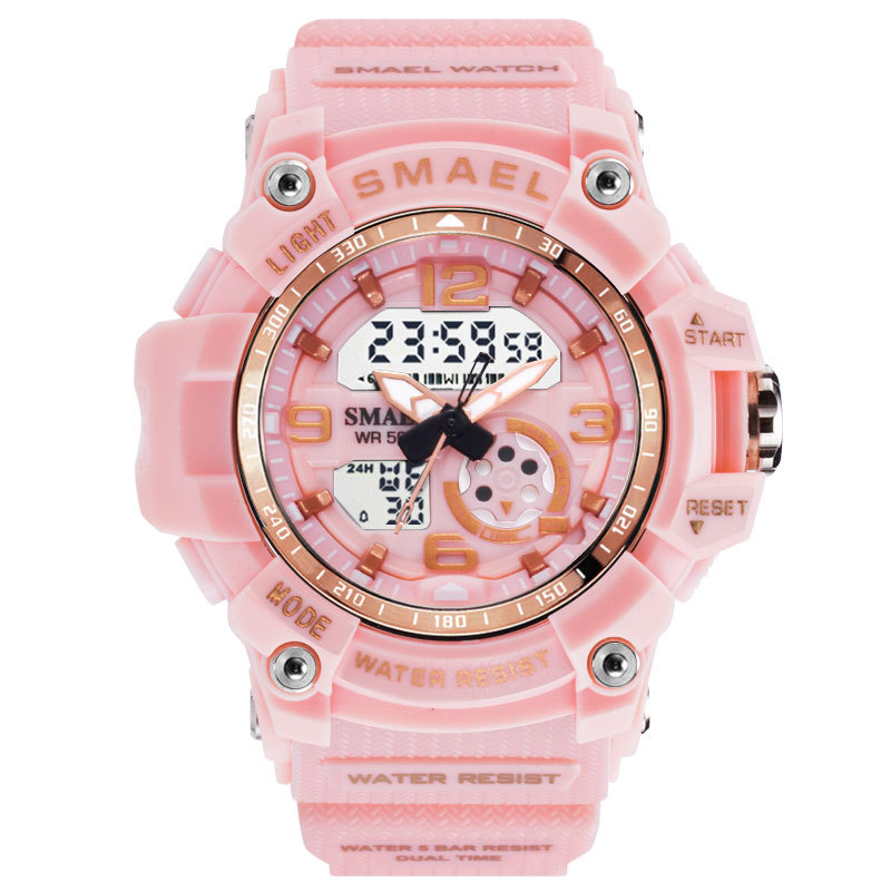 SMAEL LED Digital Quartz White Watch Fashion Women Sport Watches Waterproof Ladies Student Multifunctional Wristwatch Girl Clock