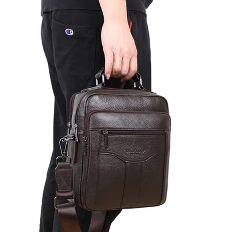 MEIGARDASS Genuine Leather Men's Business Briefcase Casual Messenger Bag Travel Shoulder Bags Male Totes 9.7'' iPad Handbags