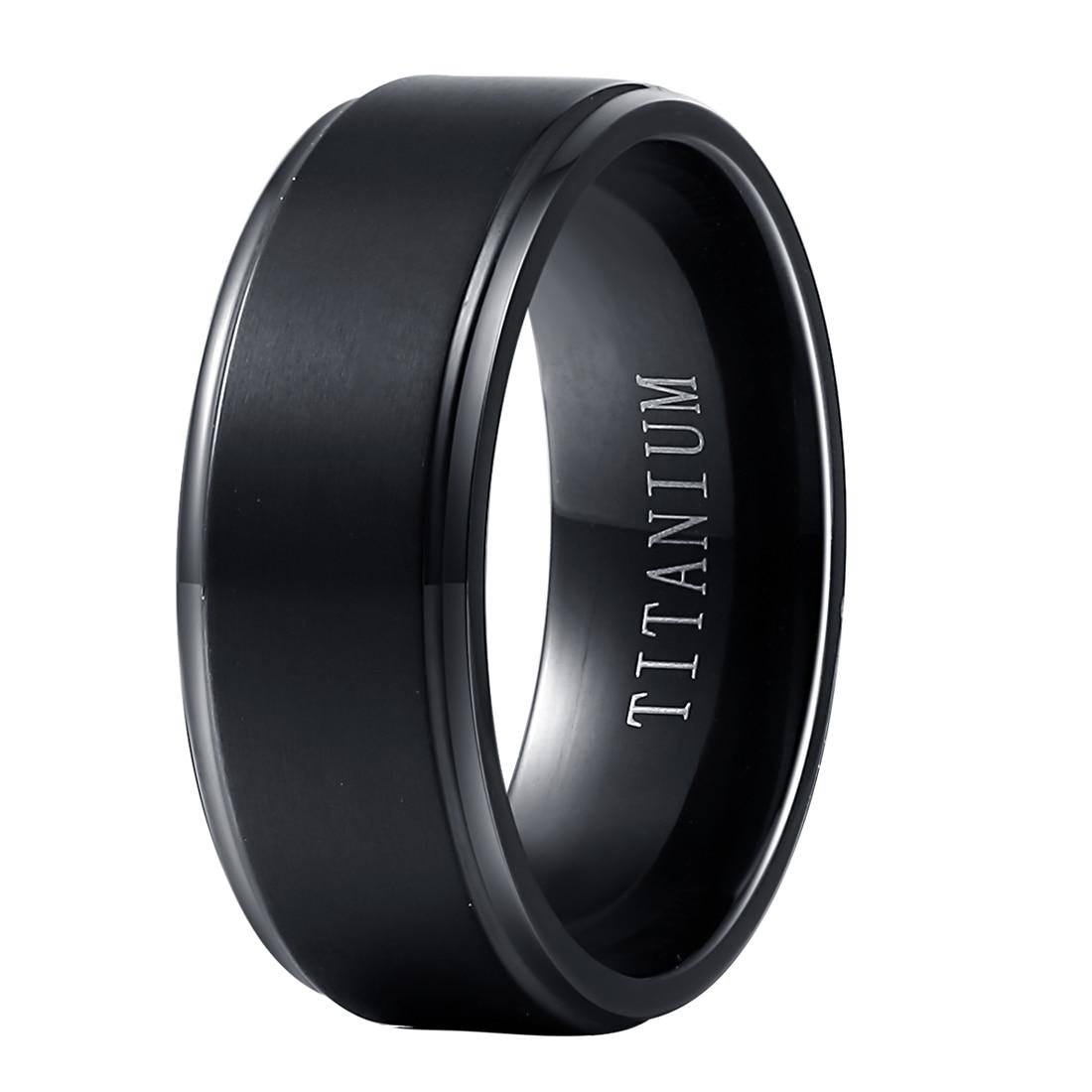 Wholesale Black Pure Titanium Rings For Men Women 8mm Wide