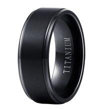 남성 여성을위한 도매 블랙 순수 티타늄 반지 8mm 와이드
