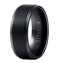 Anillos de titanio puro negro al por mayor para hombres y mujeres 8mm de ancho