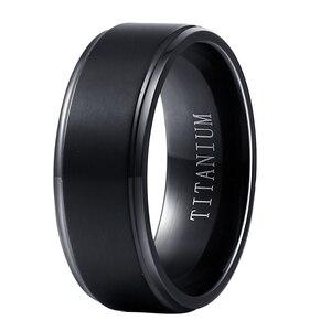 Image 1 - ขายส่งสีดำ PURE TITANIUM แหวนผู้ชายผู้หญิง 8mm กว้าง