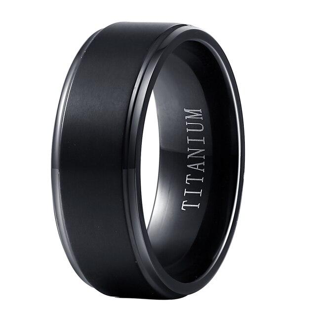 ขายส่งสีดำ PURE TITANIUM แหวนผู้ชายผู้หญิง 8mm กว้าง