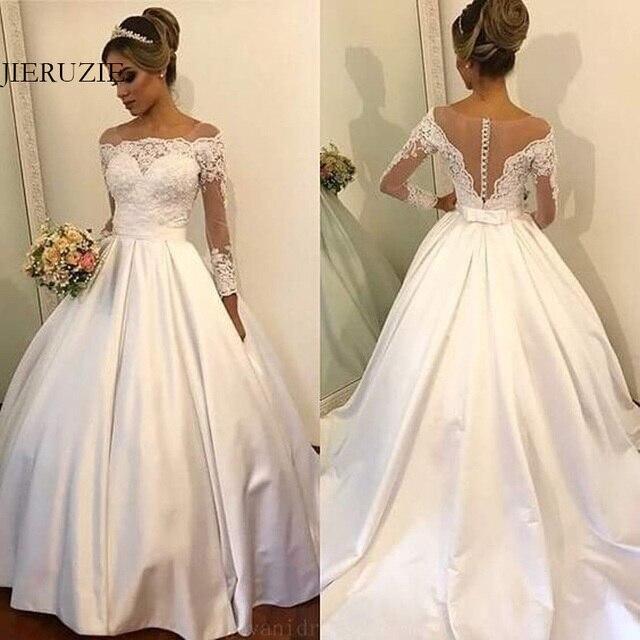 JIERUIZE Branco Cetim Vestidos de Casamento Vestidos de Casamento mangas compridas Rendas Apliques Botões Baratos Vestidos de Noiva robe de soiree