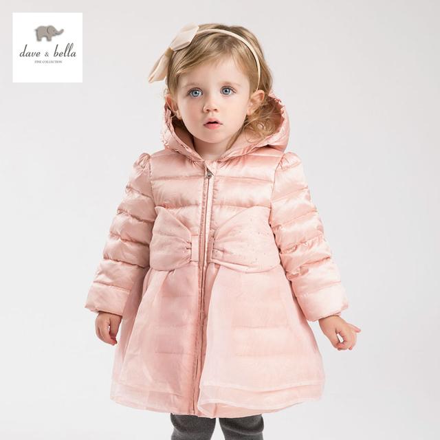 DB4023 DAVEBELLA meninas irritar jaqueta de inverno para baixo crianças jaqueta acolchoada crianças boutique outerwear