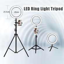 10 »25 см фотографии светодиодный селфи кольцо света три скорости холодных и теплых Плавная освещение затемнения с USB разъем лампы и штатив Стенд